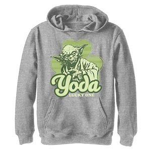 Boys 8-20 Star Wars Yoda Lucky One Clover St Patrick's Day Graphic Fleece Hoodie