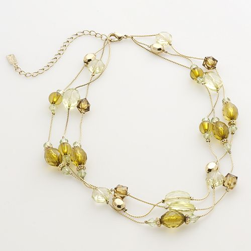 1928® Gold Tone Beaded Multistrand Necklace