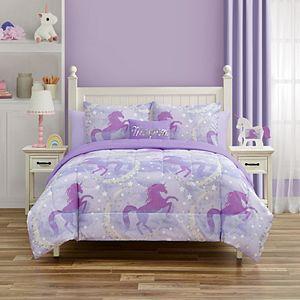 Threaded Starry Unicorn Comforter Set with Throw Pillows