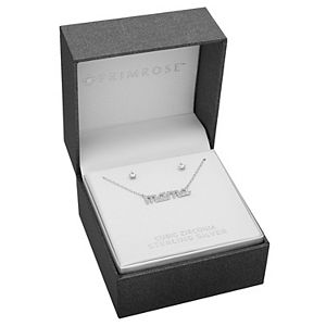"PRIMROSE Sterling Silver Stud Earrings & ""MAMA"" Necklace Set"