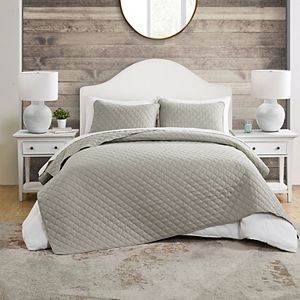 Jade + Oake VCNY Home Maxton Taupe Embossed Diamond Quilt Set with Shams