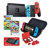 Nintendo Switch Gaming Console + Animal Crossing, Paper Mario & RDS Traveler Case Bundle
