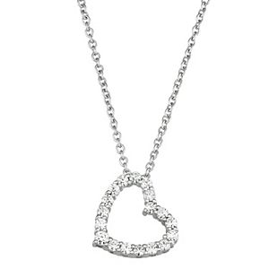 Charles & Colvard 14k White Gold 1/4 Carat T.W. Lab Created Moissanite Heart Pendant Necklace