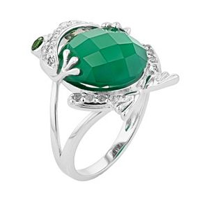 Sterling Silver Green Onyx & White Topaz Frog Ring