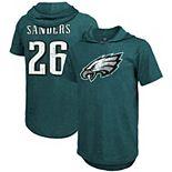 Men's Majestic Threads Miles Sanders Midnight Green Philadelphia Eagles Player Name & Number Tri-Blend Hoodie T-Shirt