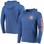 Men's Stitches Heathered Royal Chicago Cubs Hit Raglan Pullover Hoodie