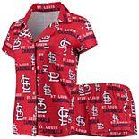 Women's Concepts Sport Red St. Louis Cardinals Zest Allover Print Button-Up Shirt & Shorts Sleep Set