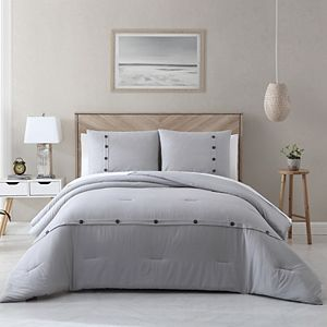 Avery HomeGrown Solid Cotton Lyocell Button Accent Comforter Set with Shams