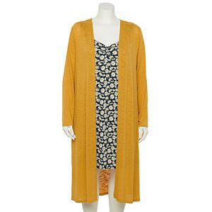 Juniors' Plus Size WallFlower Printed Knit Dress & Knit Cardigan Set