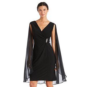 Petite R&M Richards Chiffon Duster Cape Surplice Wrap Dress
