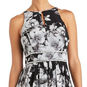 Petite R&M Richards Printed Chiffon Halter Dress