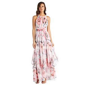 Petite R&M Richards Hanky-Hem Printed Chiffon Dress