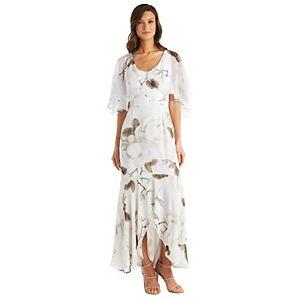Petite R&M Richards Printed Chiffon Capelet Dress