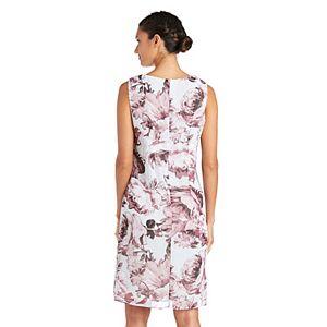 Petite R&M Richards 2-piece Printed Chiffon Jacket & Dress Set