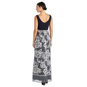 Petite R&M Richards Cross Front Mesh Maxi Dress