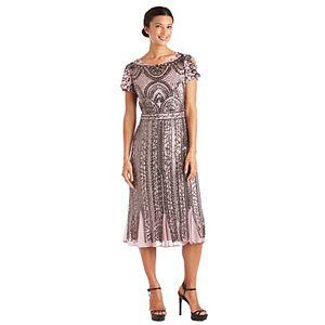 Petite R&M Richards Beaded-Mesh Godet-Hem Dress