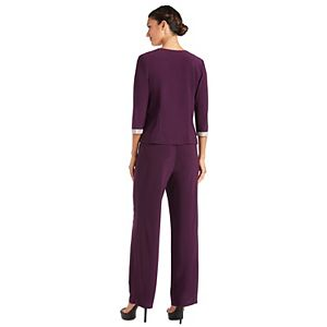 Petite R&M Richards 3-piece Embellished Detail Top, Jacket & Pant Set