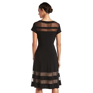 Petite R&M Richards Sheer Illusion Inset Dress