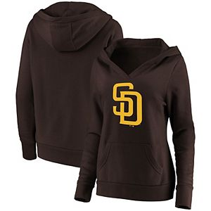 Women's Fanatics Branded Brown San Diego Padres Official Logo Crossover V-Neck Pullover Hoodie