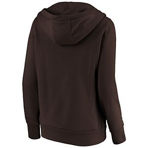 Women's Fanatics Branded Brown San Diego Padres Victory Script Crossover Neck Pullover Hoodie