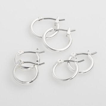 Croft & Barrow® Silver Tone Hoop Earring Set
