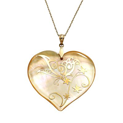 Mother-of-Pearl Butterfly Heart Pendant