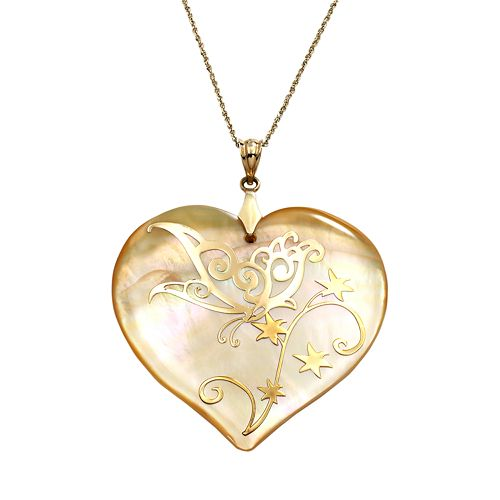 14k Gold Mother-of-Pearl Butterfly Heart Pendant