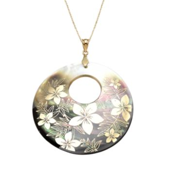 14k Gold Mother-of-Pearl Floral Pendant