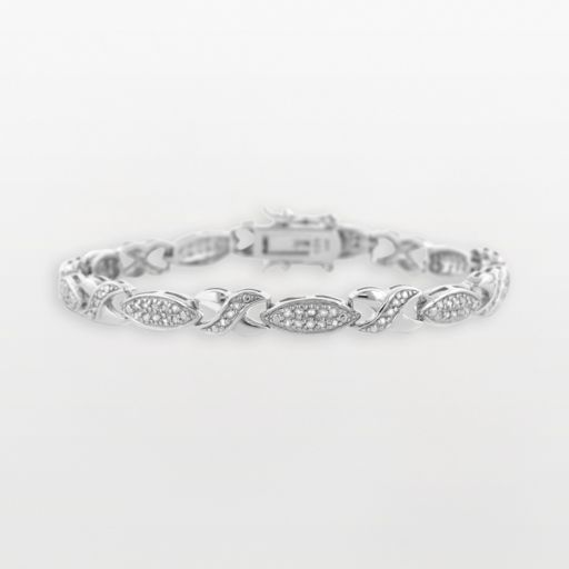 Sterling Silver 1-ct. T.W. Diamond X and Marquise Bracelet