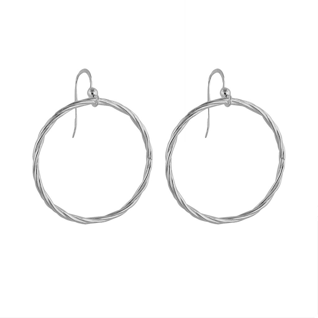 Sterling Silver Hoop Drop Earrings