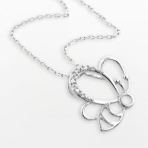 Sterling Silver Diamond Accent Bee Pendant