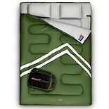SereneLife 85 x 57.1 Inch Waterproof Double Sleeping Bag with 2 Pillows, Green