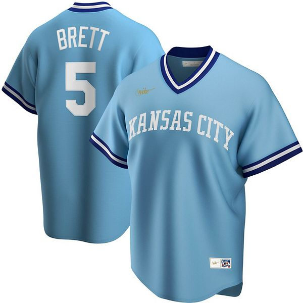 Men's Nike George Brett Light Blue Kansas City Royals Road Cooperstown Collection Player Jersey