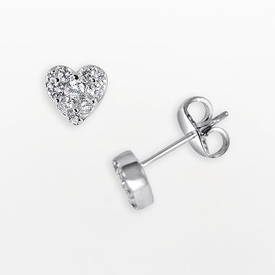 Endless Diamond 14k White Gold 1/3-ct. T.W. Diamond Heart Stud Earrings