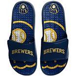 Men's FOCO Milwaukee Brewers Wordmark Gel Slide Sandals