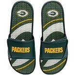 Men's FOCO Green Bay Packers Wordmark Gel Slide Sandals