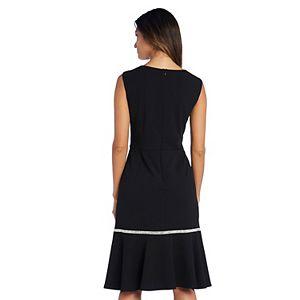 Petite R&M Richards Embellished Flounce Dress