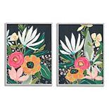 Stupell Home Decor Abstract Tropical Florals Framed Wall Art 2-piece Set