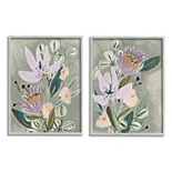 Stupell Home Decor Abstract Purple Floral Framed Wall Art 2-piece Set