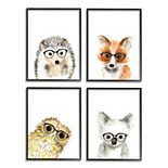Stupell Home Decor Adorable Forest Animals Framed Wall Art 3-piece Set