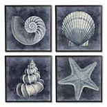 Stupell Home Decor Nautical Distressed Seashells Framed Wall Art 4-piece Set
