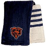 Chicago Bears 60'' x 70'' Cable Knit Sherpa Stripe Plush Blanket