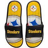 Men's FOCO Pittsburgh Steelers Wordmark Gel Slide Sandals
