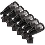Moonrays 1-Watt Low Voltage LED Above Ground Outdoor Metal Spot Lights, 6 Pack