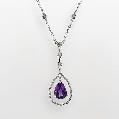 Sterling Silver 1/10-ct. T.W. Diamond and Amethyst Y Necklace