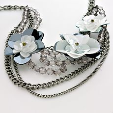 Simply Vera Vera Wang Silver-Tone Sequined Floral Multistrand Necklace