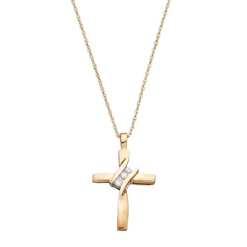10k Gold Diamond Accent Cross Pendant