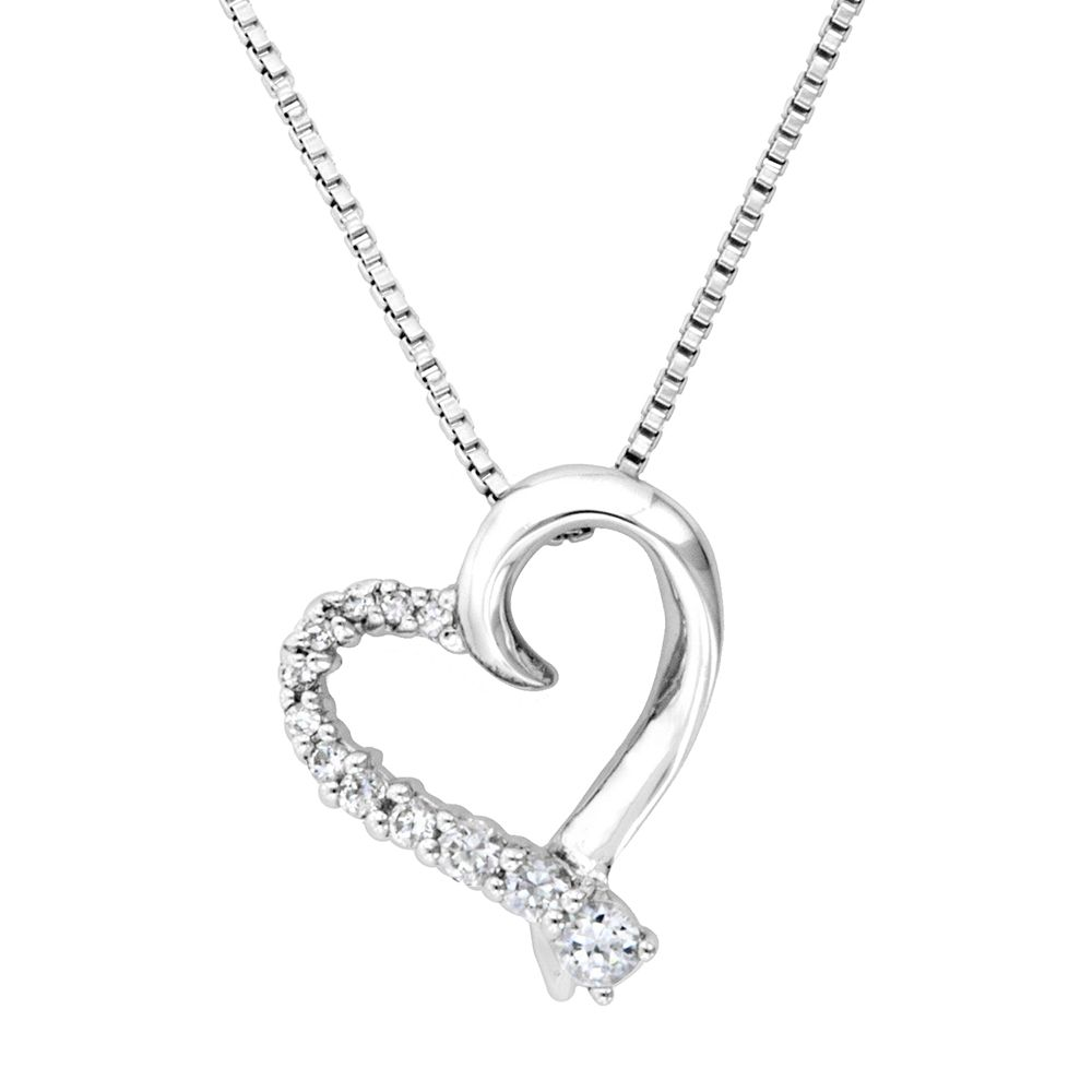 Sterling silver 32 ct tw simulated diamond heart journey pendant tw simulated diamond heart journey pendant aloadofball Image collections