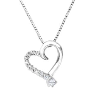 DiamonLuxe Sterling Silver .32-ct. T.W. Simulated Diamond Heart Journey Pendant