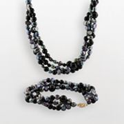 14k Gold Dyed Freshwater Cultured Pearl and Onyx Necklace and Bracelet Set